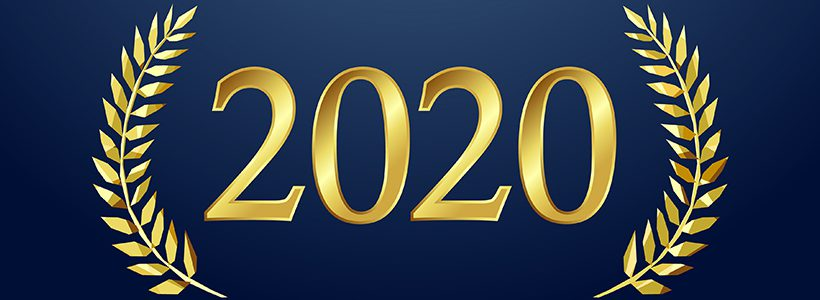 2020 in gold leaf lettering