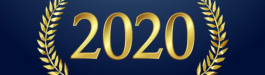 2020 in gold leaf lettering