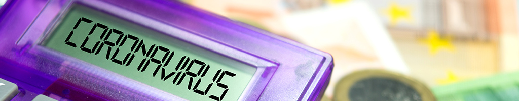Purple calculator showing Coronavirus text on screen