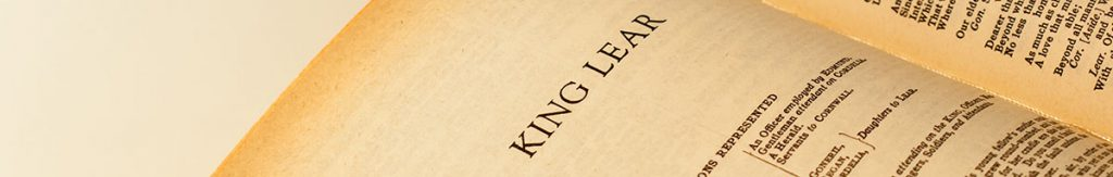 Book open at page with heading King Lear