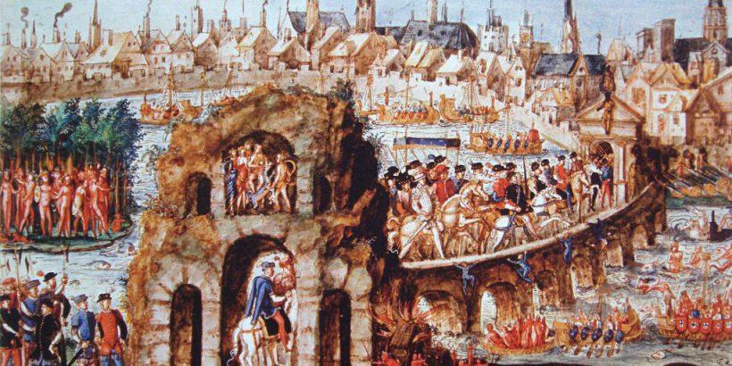 The 'France Antarctique' or 'Brazilian' ball given for Henri II's ceremonial entry into Rouen, 1 October 1550 (Relation de l'entrée de Henri II, roi de France, à Rouen, le 1er October 1550, Bibliothèque municipale de Rouen, MS Y 28, CGM 1268)