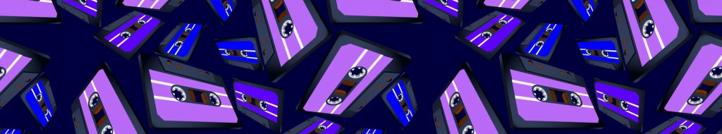 Blue and purple casette tapes